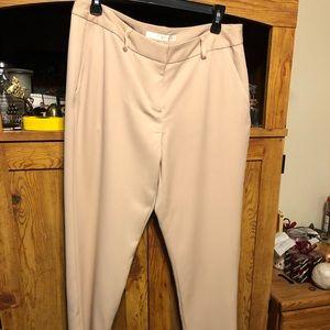 Cropped Pale Creamy Pink crepe dress slacks